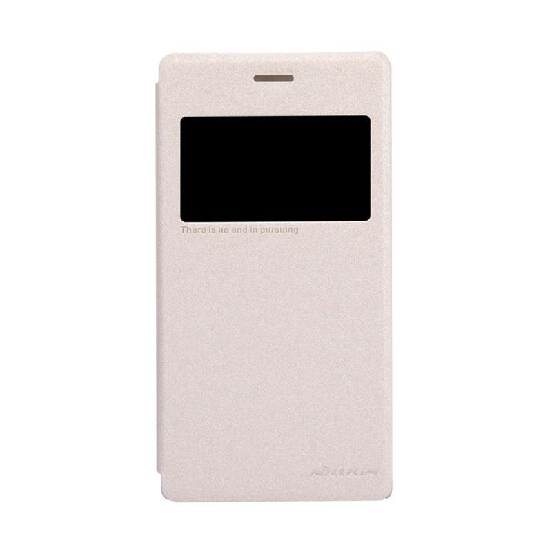 Nillkin Original Sparkle Leather Flip Cover Casing for Sony Xperia M2 - Gold