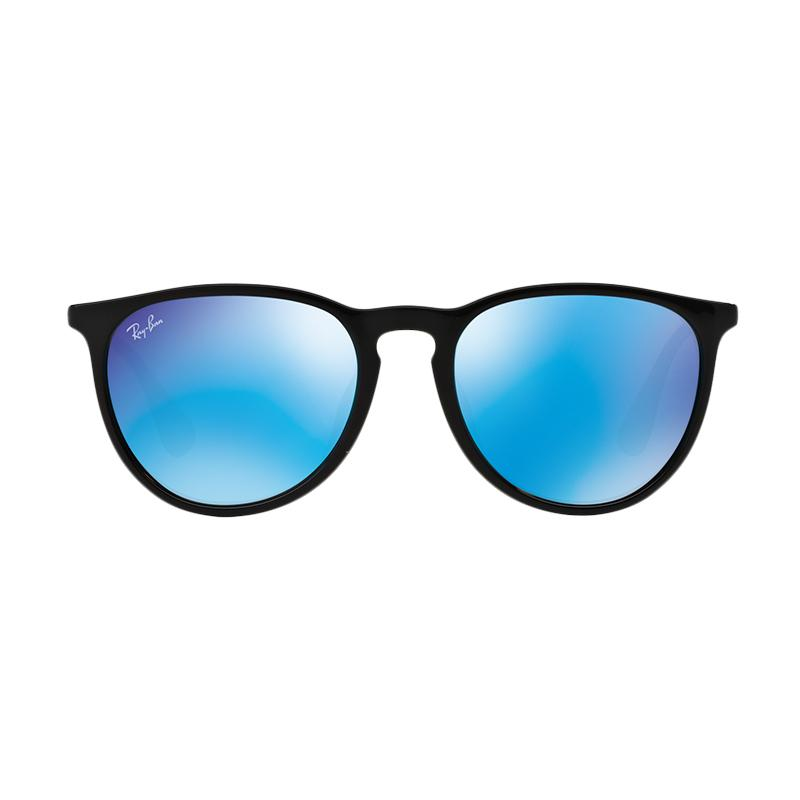 Ray-Ban Erika F RB4171F Sunglasses - Shiny Black [601/55 /Size 57/ Light Green Mirror Blue]