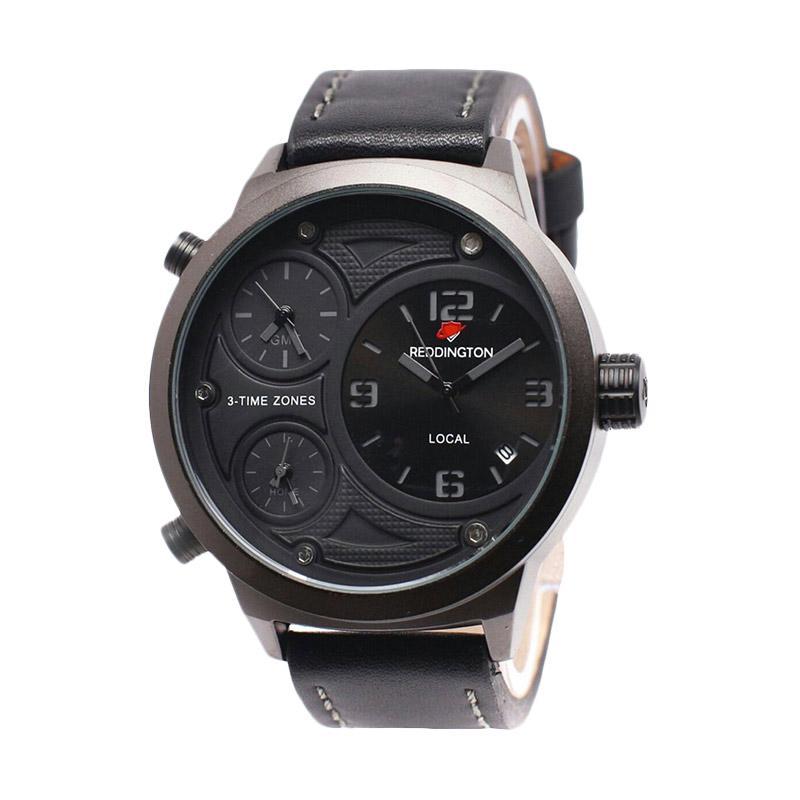 Reddington D49H350RD3032MHTM Triple Time Leather Strap Jam Tangan Pria - Black