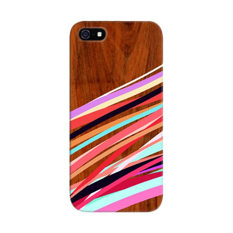 Indocustomcase Layer Wooden Waves Coral2 Custom Hardcase Casing for Apple iPhone 5/5S/SE