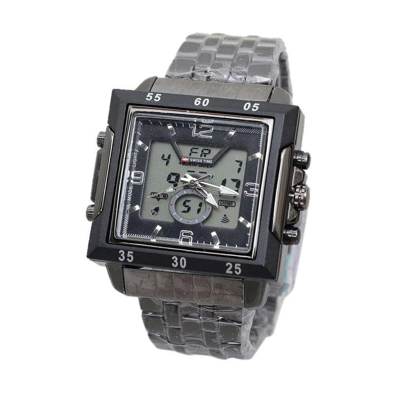 Swiss Army SA 6569 AD Dual Time Jam Tangan Pria - Black