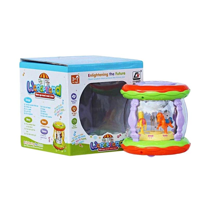 harga MOMO Wonderland Merry Go Round Music Drum Mini Mainan Baby - Multicolour Blibli.com