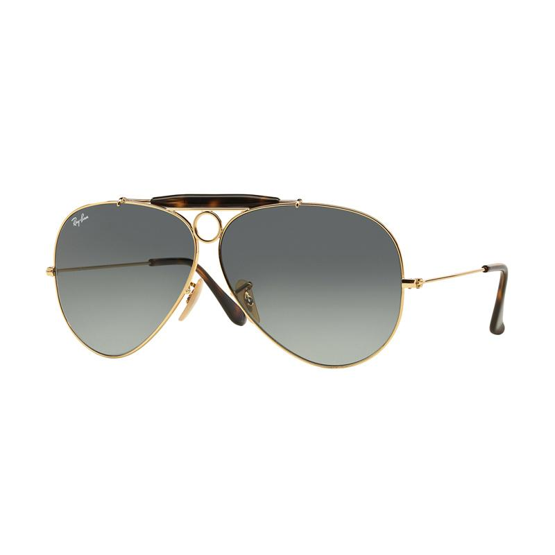 Ray-Ban Shooter RB3138 Sunglasses - Gold [181-71/Size 62/Light Grey Gradient Dark Grey]