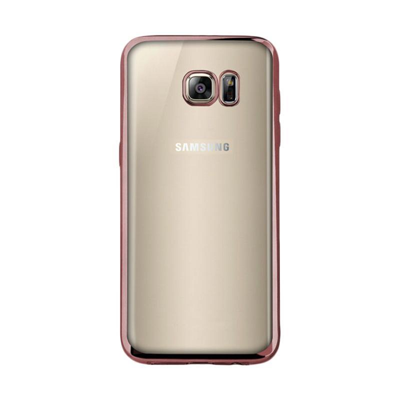 OEM Ultrathin TPU Shining Chrome Casing for Samsung Galaxy S7 Edge - Rose Gold
