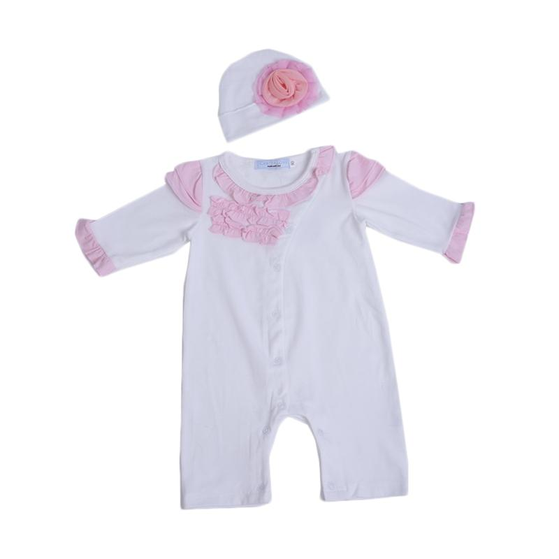 Chloe babyshop F997 Jumper Set Infant New Born Baby Girl + Topi - Putih
