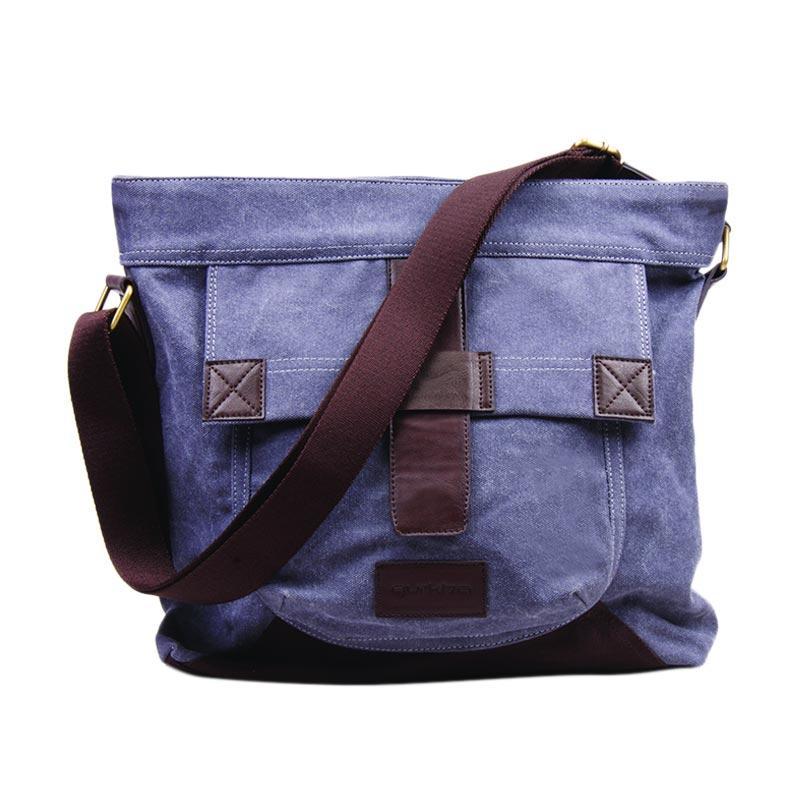 Gurkha BMR-22 Messenger Bag Canvas Unisex with Syntethic Leather Tas Selempang - Grey
