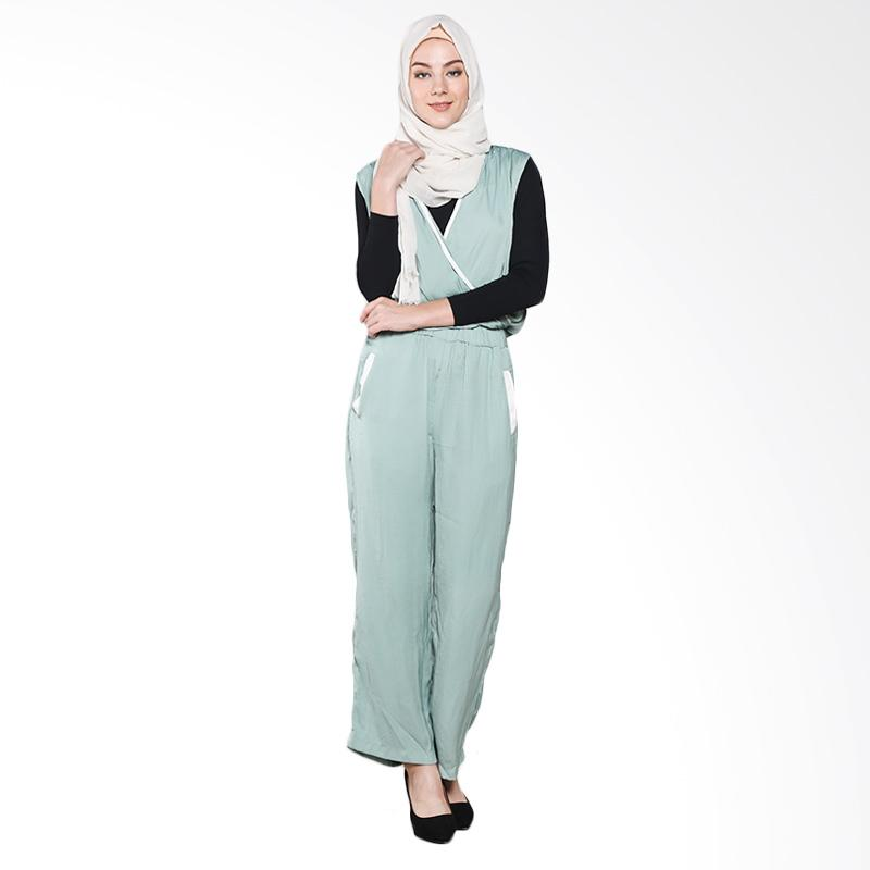 Aira muslim Butik AB.JS.001 Viona Jumpsuits Dress Muslim - Green