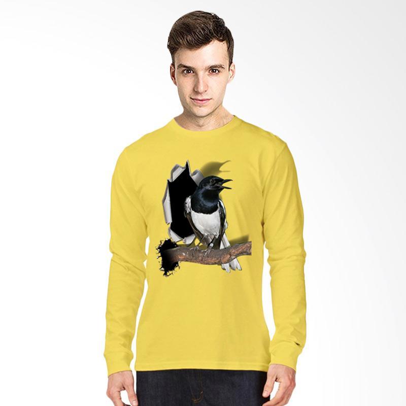 harga T-Shirt Glory 3D Burung Kacer Poci Kaos Lengan Panjang Pria - Kuning Blibli.com