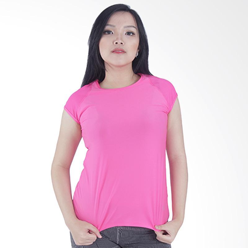Vogo Perform O Neck Mesh Women Tee Short Sleeves T-Shirt Wanita - Pink RN10003