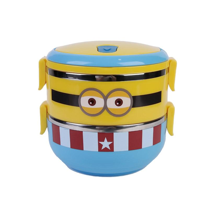 Chloebaby Shop Minion Stainless Steels Rantang - Yellow [2 Susun]