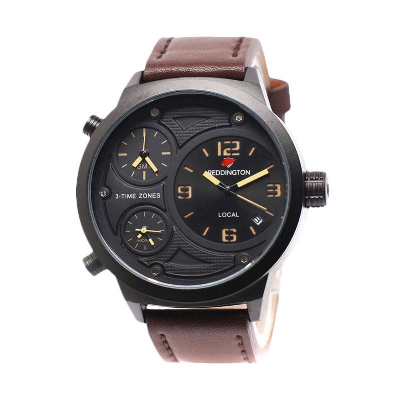 Reddington CT Leather Strap Triple Time RD3032 Jam Tangan Pria - Coklat Tua
