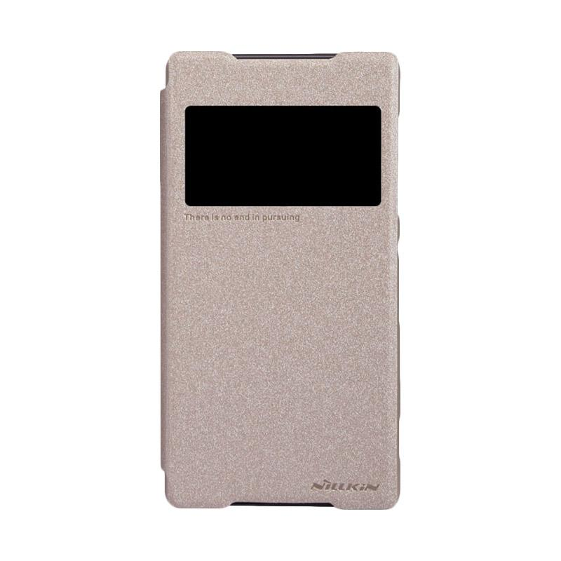 Nillkin Original Sparkle Leather Flip Cover Casing for Sony Xperia Z2 - Gold