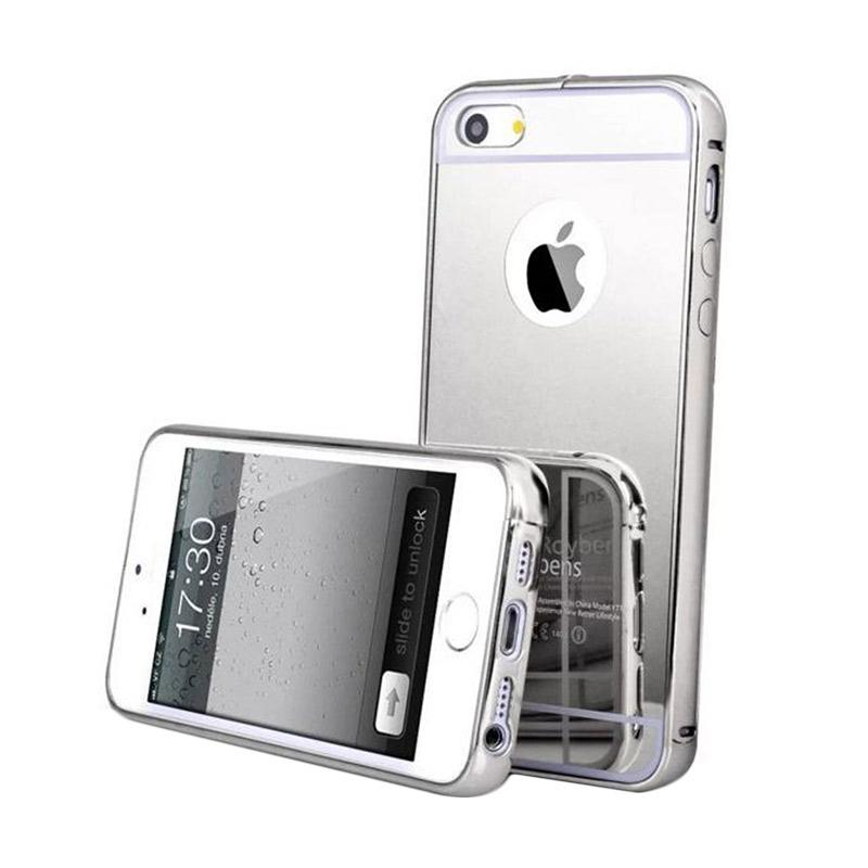 Mirror Luxury Metal Frame Bumper Hard Back Cover Casing for Apple iPhone 6 Plus - Silver
