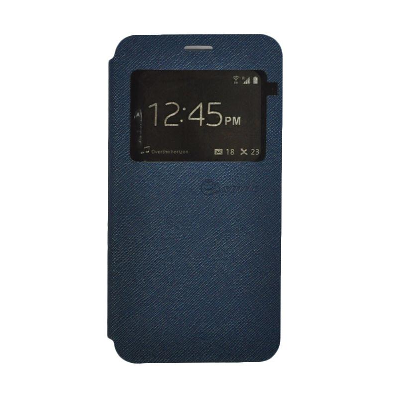 SMILE Standing Flip Cover Casing for Samsung Galaxy J1 Mini Prime - Navy Blue