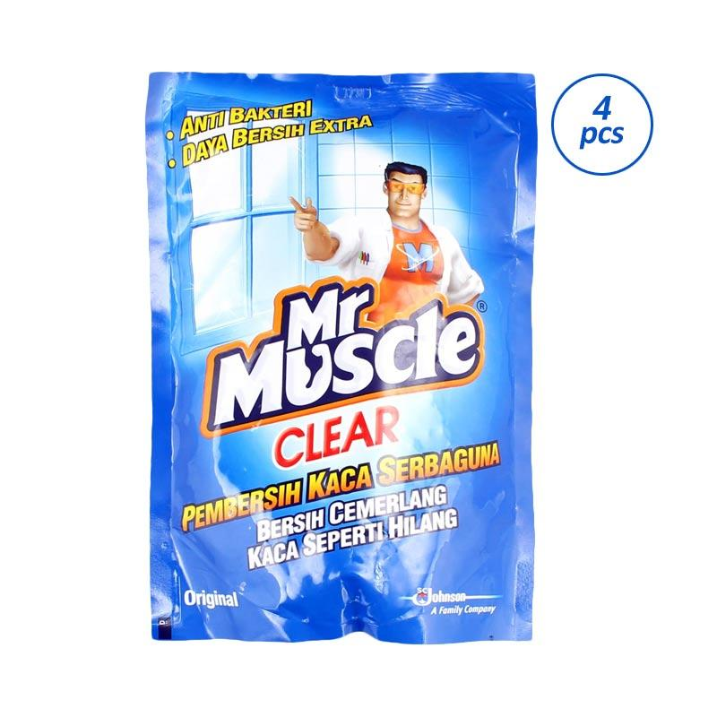 harga MR. MUSCLE Clear Glass Liquid Blue Pouch Pembersih Kaca Serbaguna [440 mL/4 Pcs] 318000000 Blibli.com