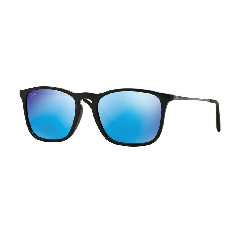 Ray-Ban Sunglasses Chris F RB4187F - Shiny Black [601-55/Size 54/Light Green Mirror Blue]