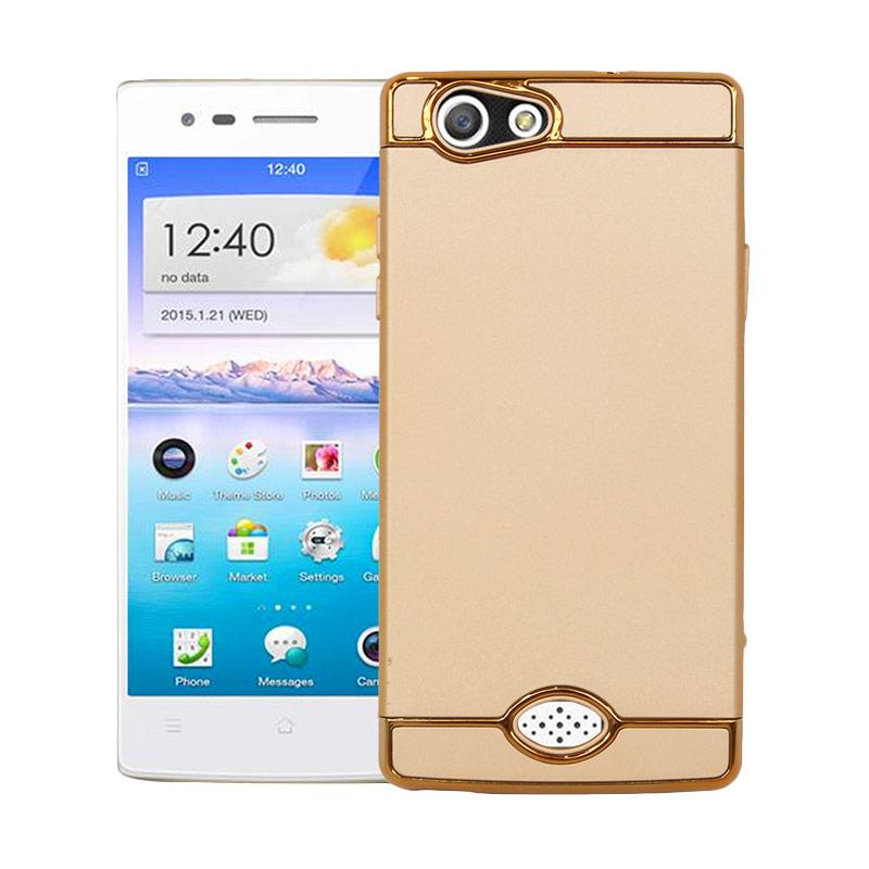 OEM 3 in 1 Plated PC Frame Bumper with Frosted Hardcase Casing for Oppo A31 or Neo 5 - Gold