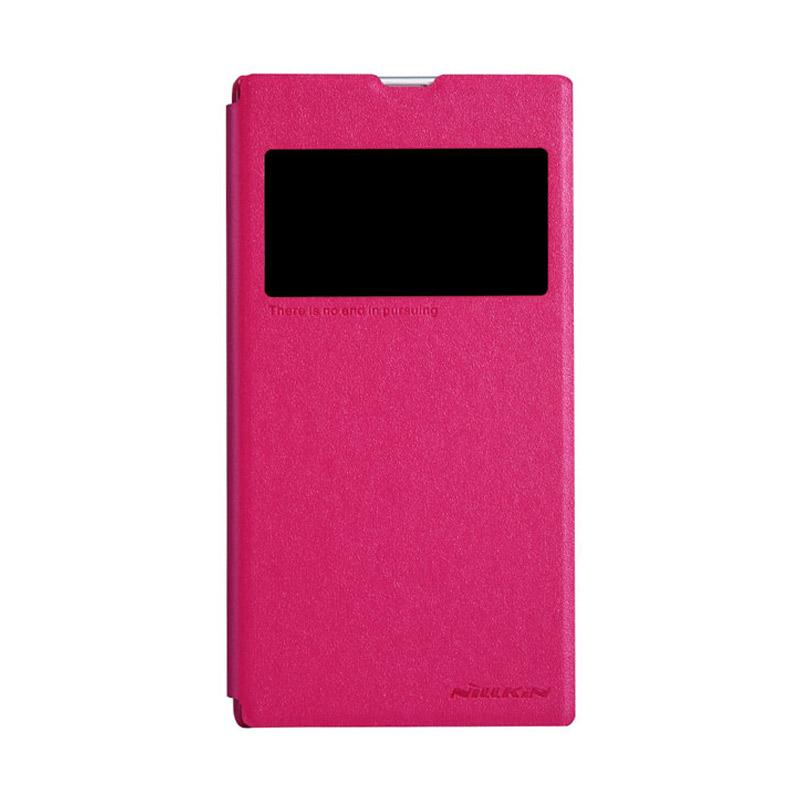 Nillkin Original Sparkle Leather Flip Cover Casing for Sony Xperia Z1 - Pink