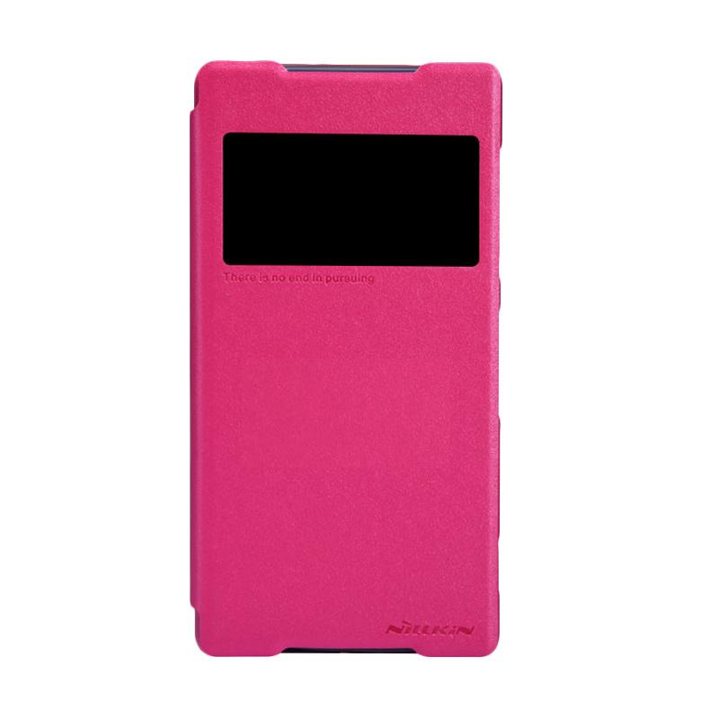 Nillkin Original Sparkle Leather Flip Cover Casing for Sony Xperia Z2 - Pink