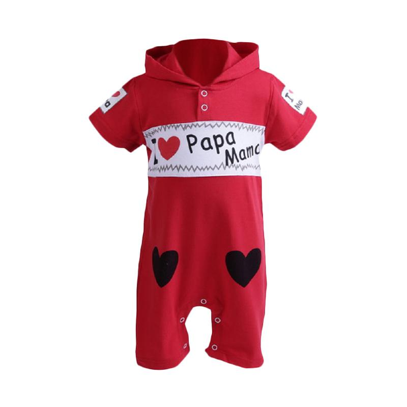Chloebaby Shop Jumper Baby Boy Infant I Love Papa Mama F999A Jumpsuit - Red Black