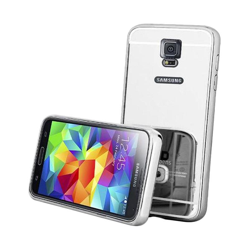 OEM Luxury Bumper Metal Sliding Backcase Casing for Samsung Galaxy S5 - Silver