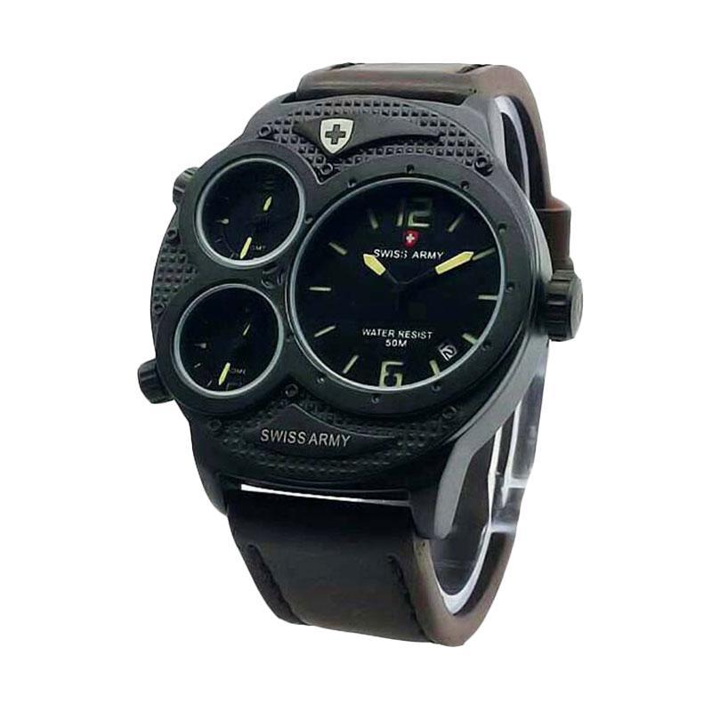 Swiss Army SA1561 Triple Time Leather Strap Jam Tangan Pria - Dark Brown