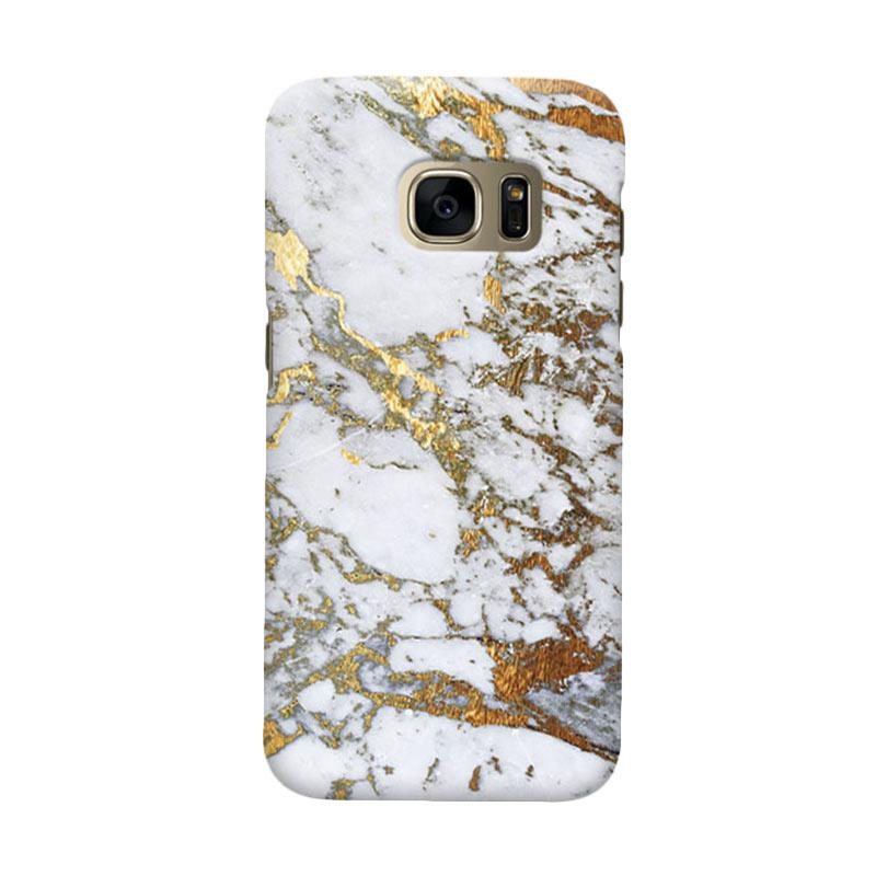 Indocustomcase Marble Cover Casing for Samsung Galaxy S7 Edge - Gold