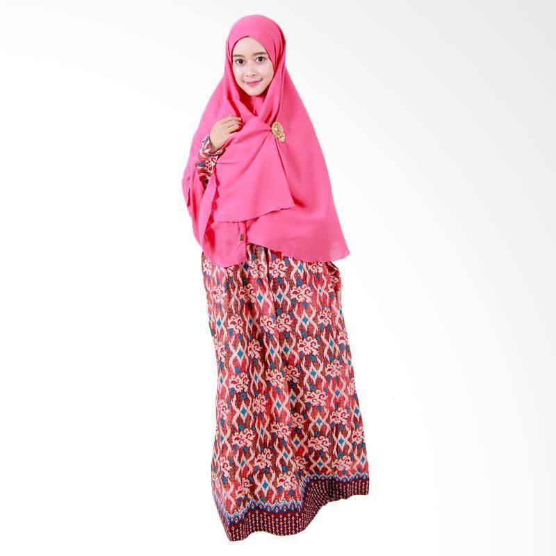 Batik Putri Ayu Solo Gamis Syari GH3 Dress Muslim - Cokelat