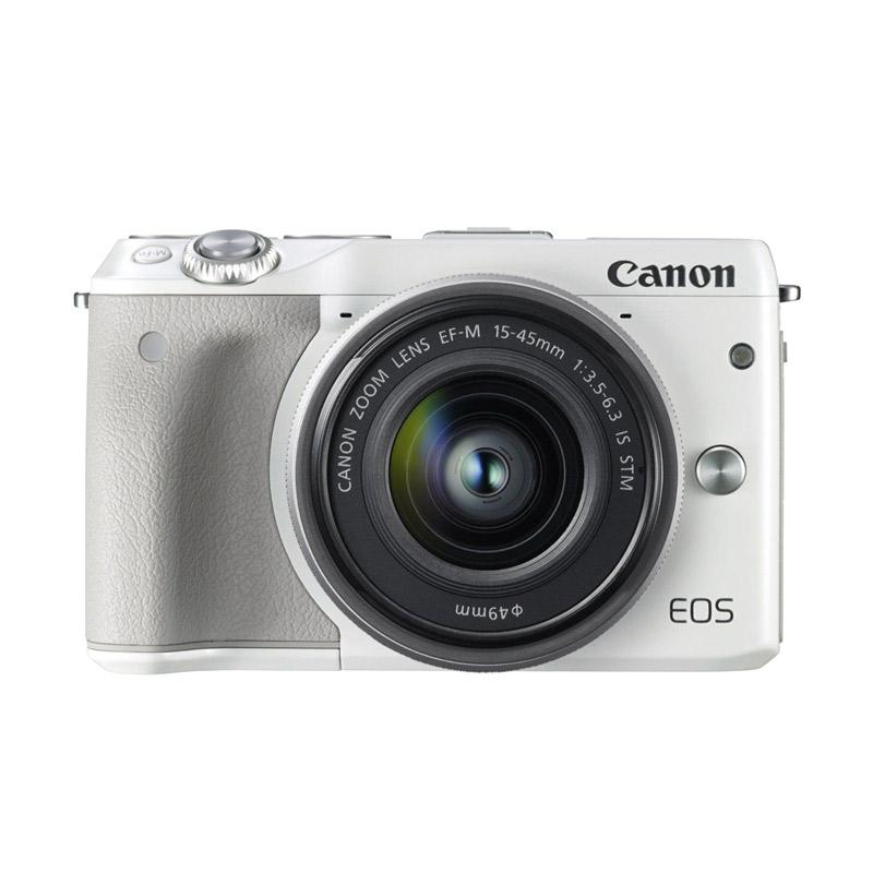 CANON EOS M3 + EF-M15-45 IS STM KIT Kamera Mirrorless - White [24.2MP/WiFi/Touchscreen LCD]