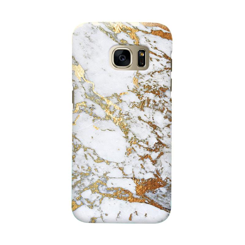 Indocustomcase Gold Marble Cover Casing for Samsung Galaxy S6