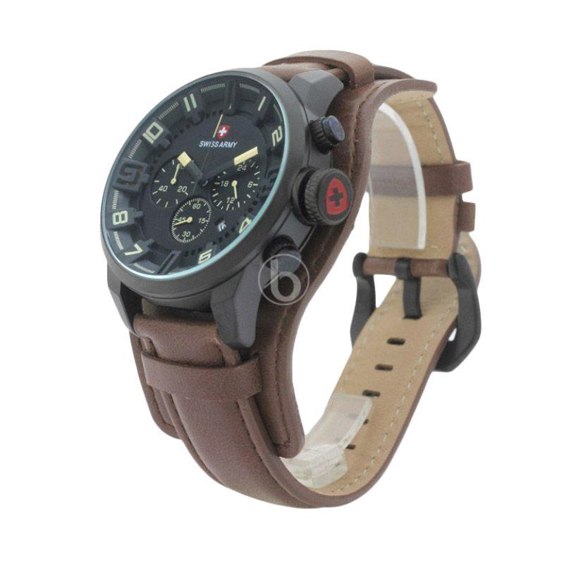 Swiss Army PMG-119 Stopwatch Chronograph Jam Tangan Pria - Hitam Coklat