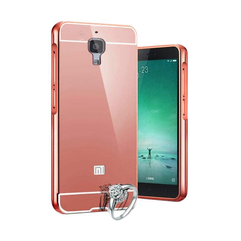 Case Aluminium Bumper Slide Mirror Casing for Xiaomi Mi 4 - Rose Gold [Best Seller]