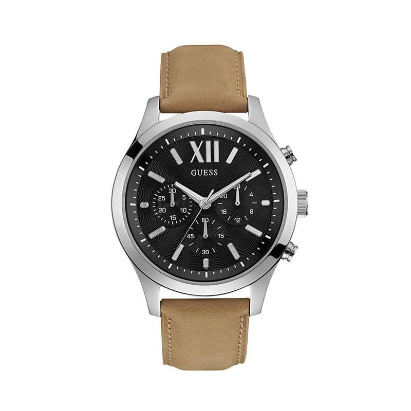 Guess Elevation Leather Brown Chronograph Jam Tangan Pria W0789G1 - Silver Black
