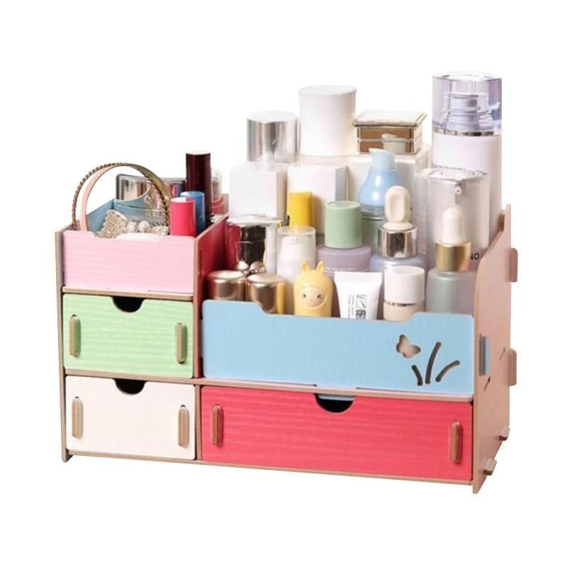 harga Home Living Cosmetic Desktop Organizer Kayu Rak Kosmetik - Kombinasi Blibli.com