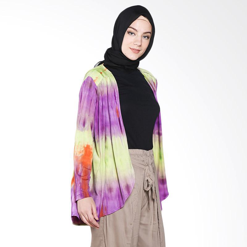 Aira Muslim Butik Tie Dye Cardigan AB.O-001 Atasan Muslim - Purple Green