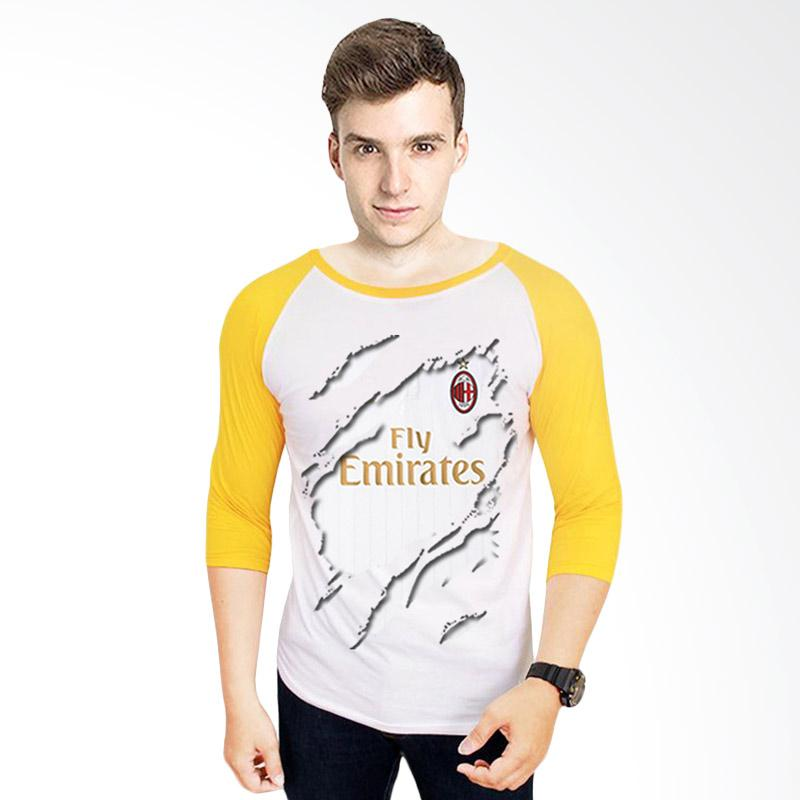 harga T-Shirt Glory Kaos 3D Ac Milan Jersey Away Raglan Pria - Putih Kuning Blibli.com