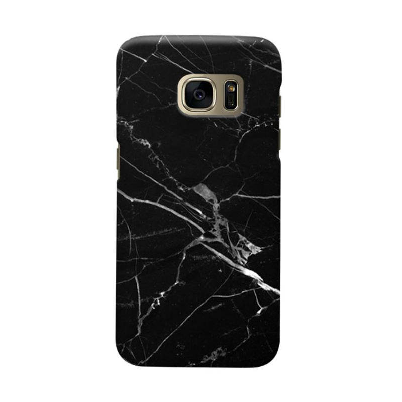 Indocustomcase Black Marble C2 Cover Casing for Samsung Galaxy S6 Edge