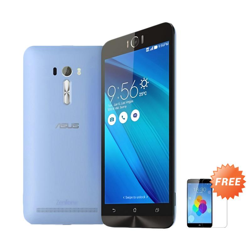 Ultrathin Aircase Casing for Asus Zenfone Laser 5.5 Inch - Blue Clear + Free Tempered Glass Screen Protector