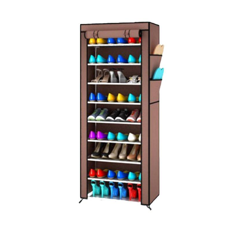 Gogo Model Rak Sepatu Portable Shoe Rack with Dust Cover - Coklat [10 Susun]