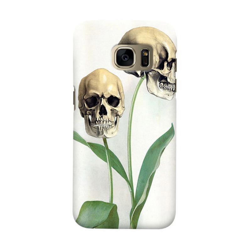 Indocustomcase Flower Skull Cover Casing for Samsung Galaxy S7