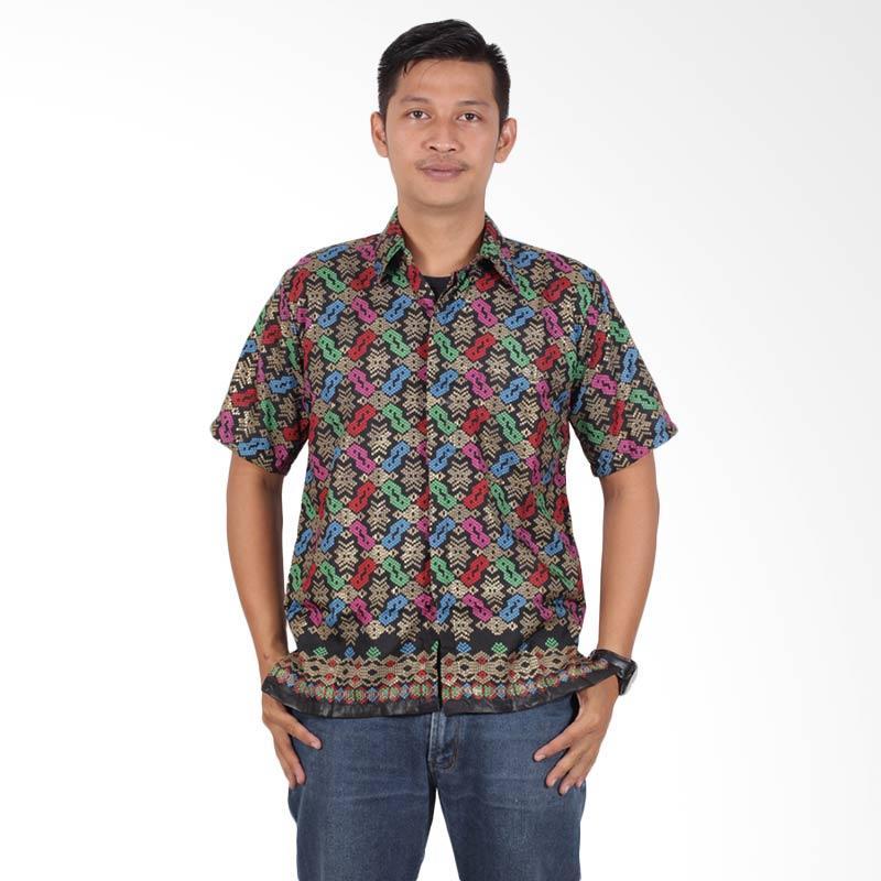 Batik Putri Ayu Solo Lengan Pendek KPD200 Kemeja Batik Pria - Hitam