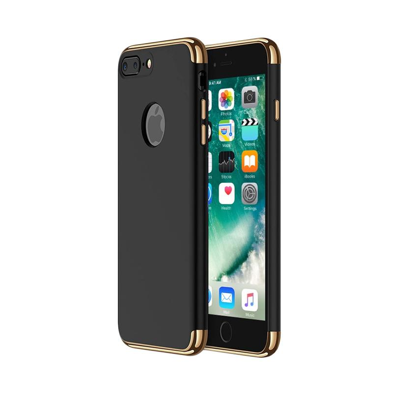 Fashion Case 3 in 1 Plated PC Frame Bumper with Frosted Hard Back Casing for iPhone 7 Plus - Black