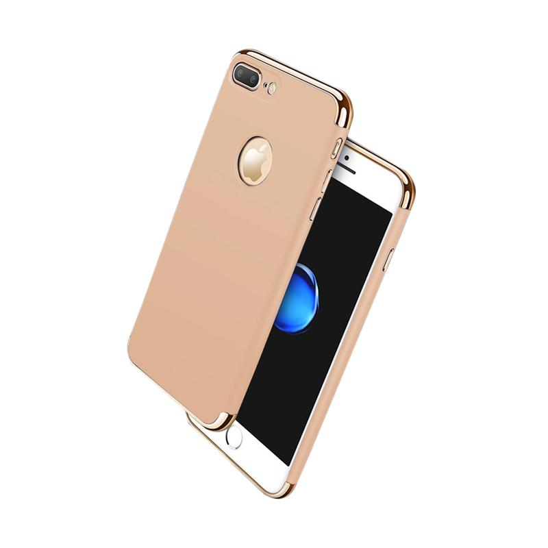 Fashion Case 3 in 1 Plated PC Frame Bumper with Frosted Hard Back Casing for iPhone 7 Plus - Gold