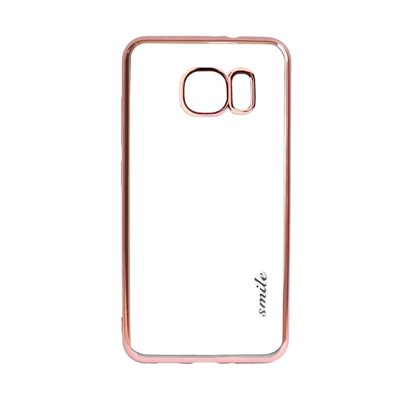 SMILE Ultra Thin Shining List Chrome Casing for Samsung Galaxy S7 - Rose Gold