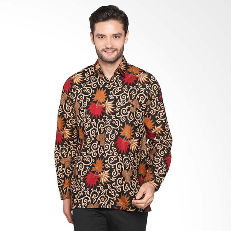 Blitique Motif Kembang Tangan Panjang Kemeja Batik Pria - Hitam Merah BLTQTC170HM