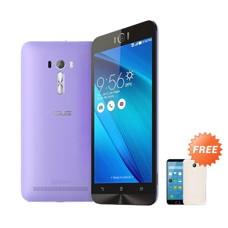 Ultrathin Aircase Casing for Zenfone Selfie 2D551KL + Free Ultra Thin - Purple Clear