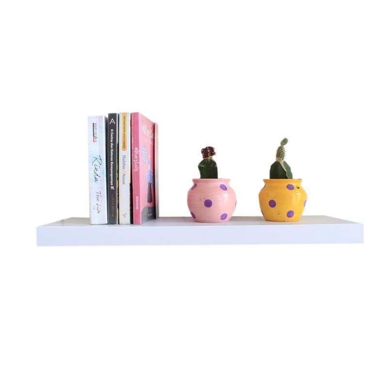 Kayu Manis Malist MLP60 Floating Shelves Rak Dinding Minimalis - Putih [60 cm]