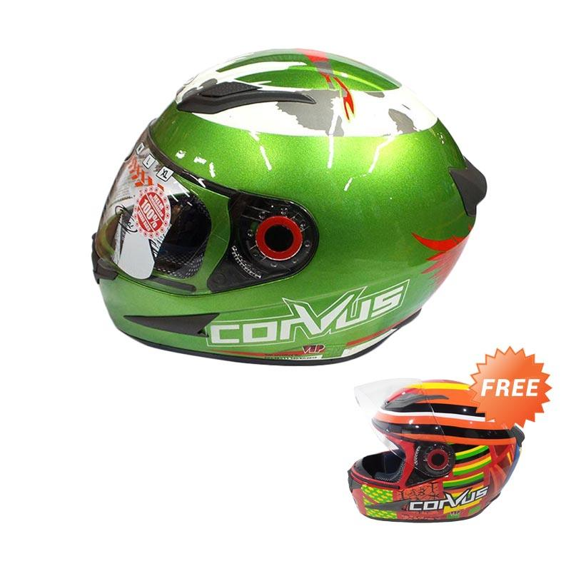 harga Promo Corvus 99 Helm Full Face - Green Red [XL] + Free Corvus 69 Helm Full Face - Red XL Blibli.com
