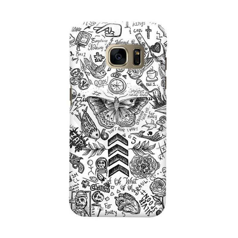 Indocustomcase Tattoo Cover Casing for Samsung Galaxy S6 Edge