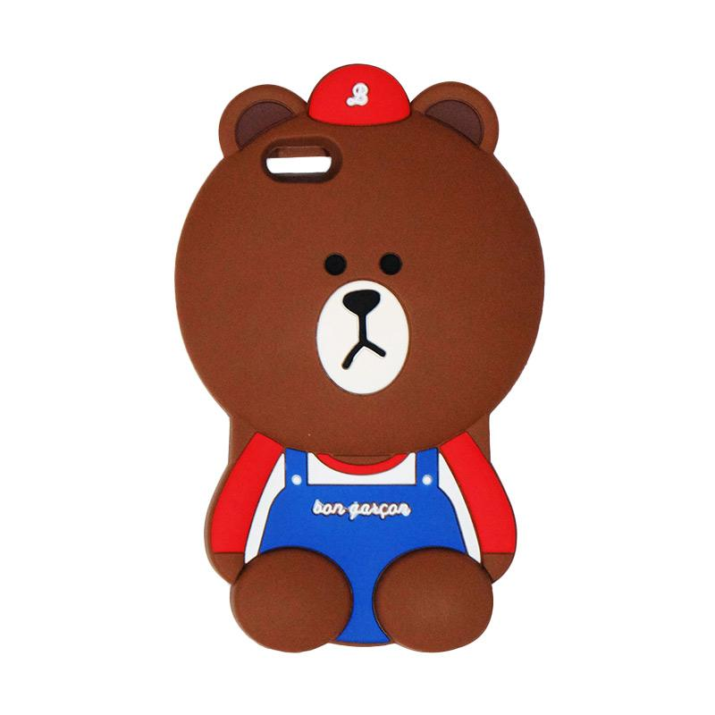 VR 3D Bear Bon Qaxcon Edition Silicon Softcase Casing for iPhone 6 Plus 5.5 Inch - Brown